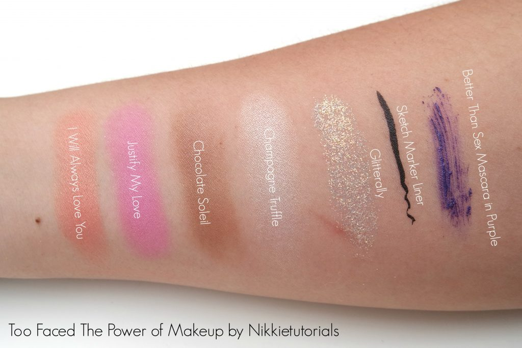 Toofaced x Nikkietutorials The Power of Makeup Palette Swatches 02