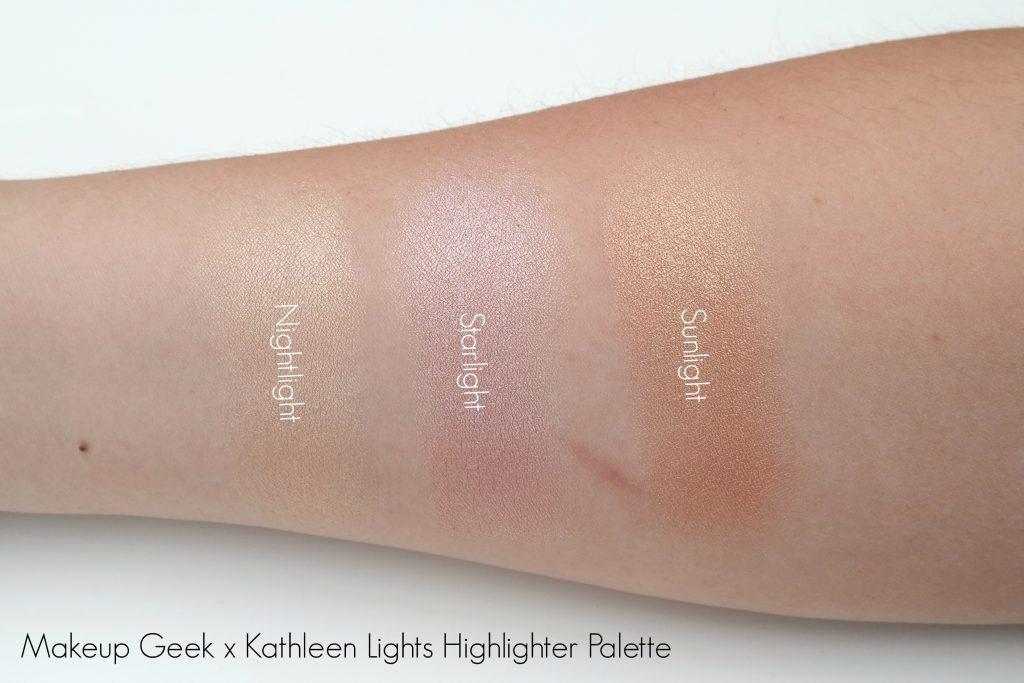 Makeupgeek x Kathleen Lights Highlighter Palette Swatches
