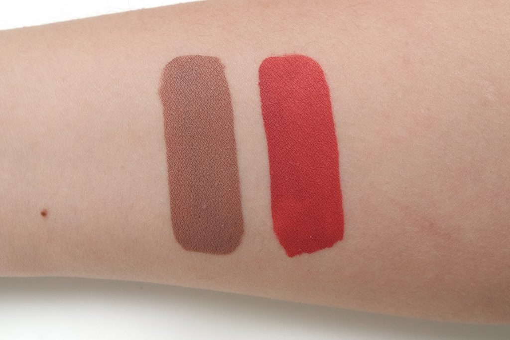 d7874243e1a Here are swatches of the Jeffree Star Velour Liquid Lipsticks in Daddy  (left) and I'm Shook (right). The shades are opaque and both have a thin  and oily ...