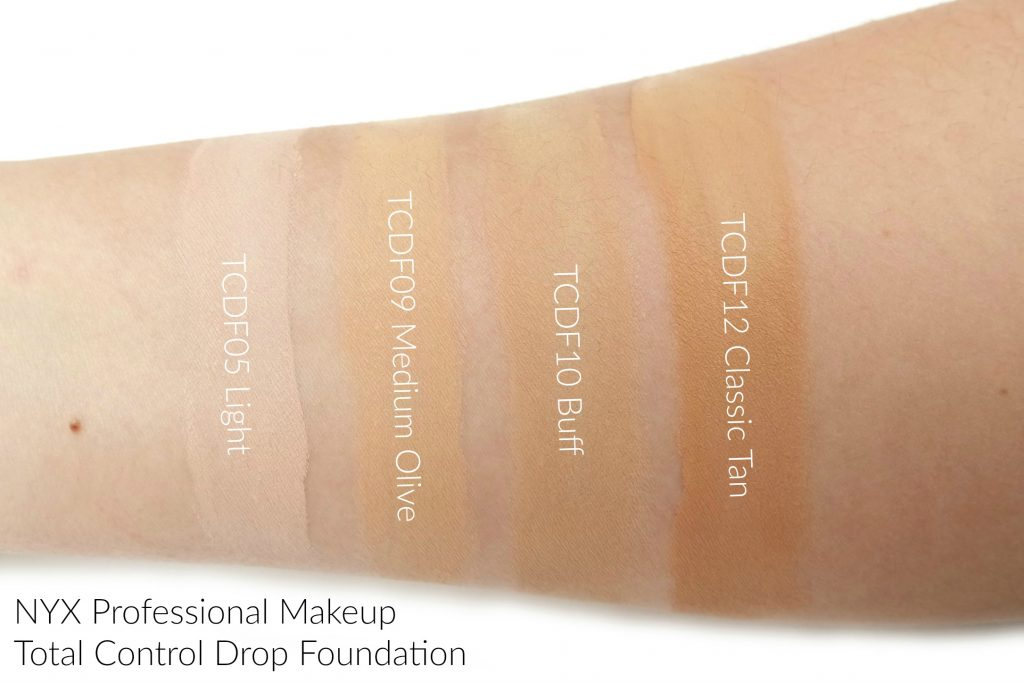 5a6e07191c93 I ve received four shades of the NYX Professional Makeup Total Control Drop  Foundation