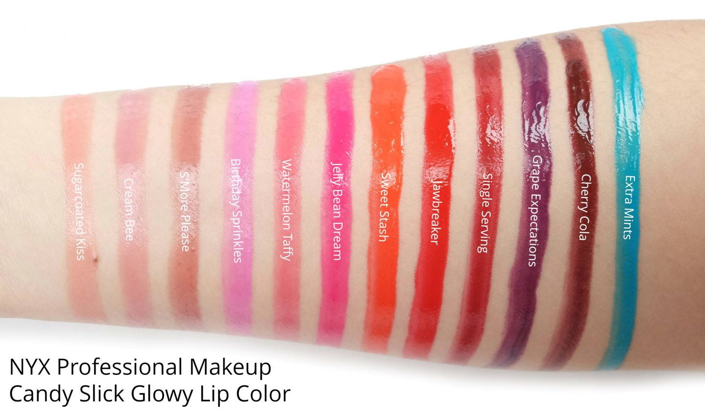 NYX Professional Makeup Candy Slick Glowy Lip Color Swatches