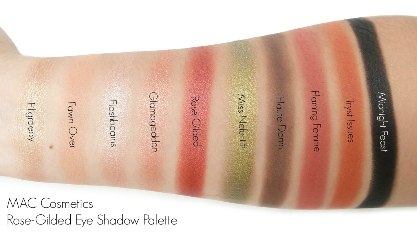 MAC Cosmetics Rose-Gilded Eye Shadow Palette Swatches