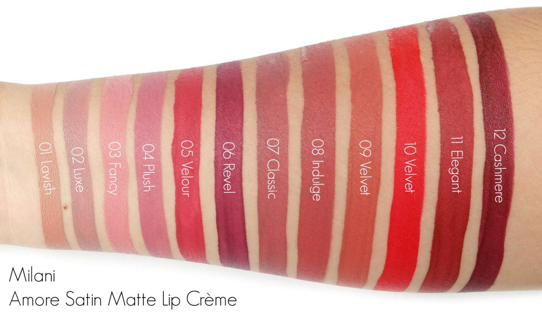 Milani Amore Satin Matte Lip Crème Swatches