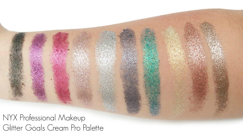 NYX Professional Makeup Glitter Goals Cream Pro Palette Swatches