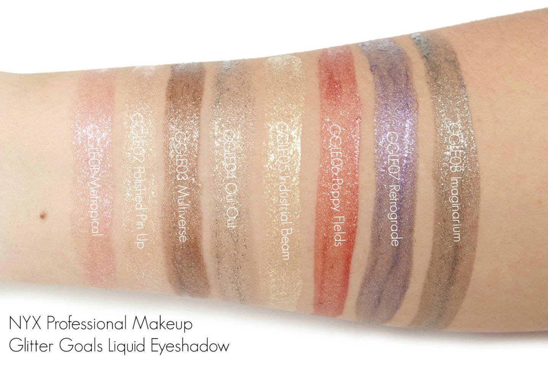 NYX Professional Makeup Glitter Goals Liquid Eyeshadow Swatches