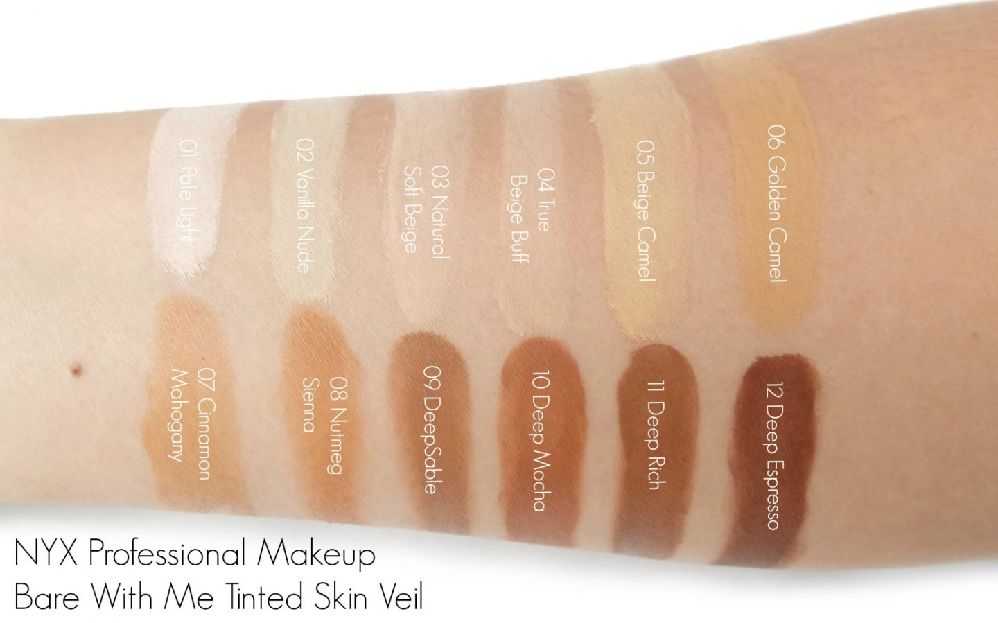 NYX Professional Makeup Bare With Me Tinted Skin Veil Swatches