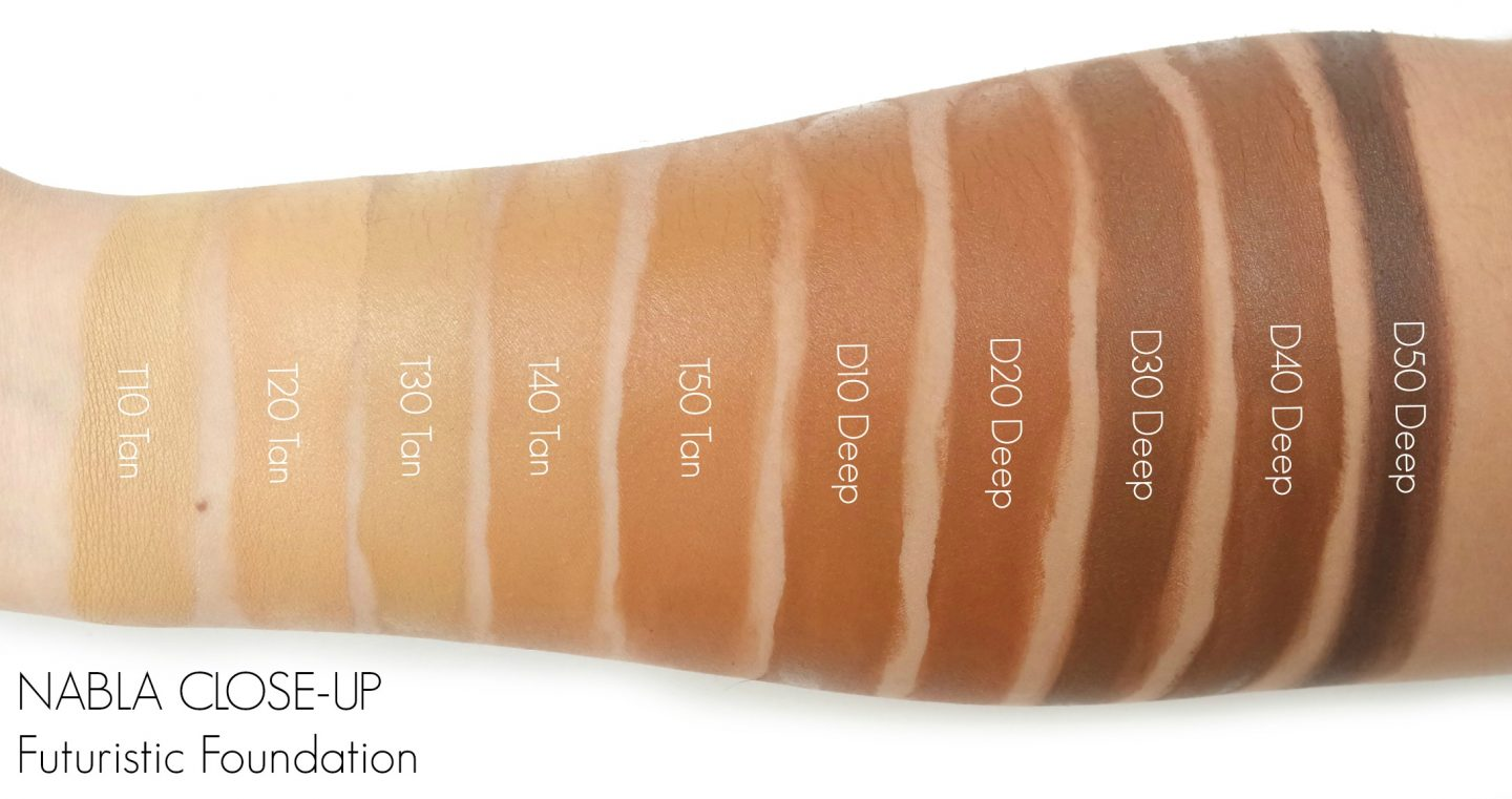 NABLA CLOSE-UP Futuristic Foundation Swatches