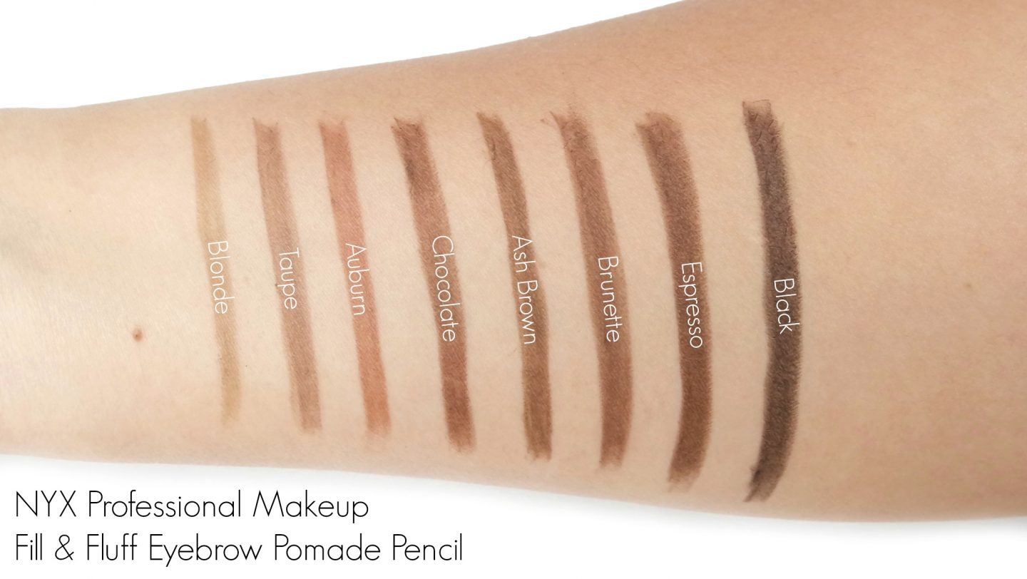 NYX Professional Makeup Fill & Fluff Eyebrow Pomade Pencil Swatches