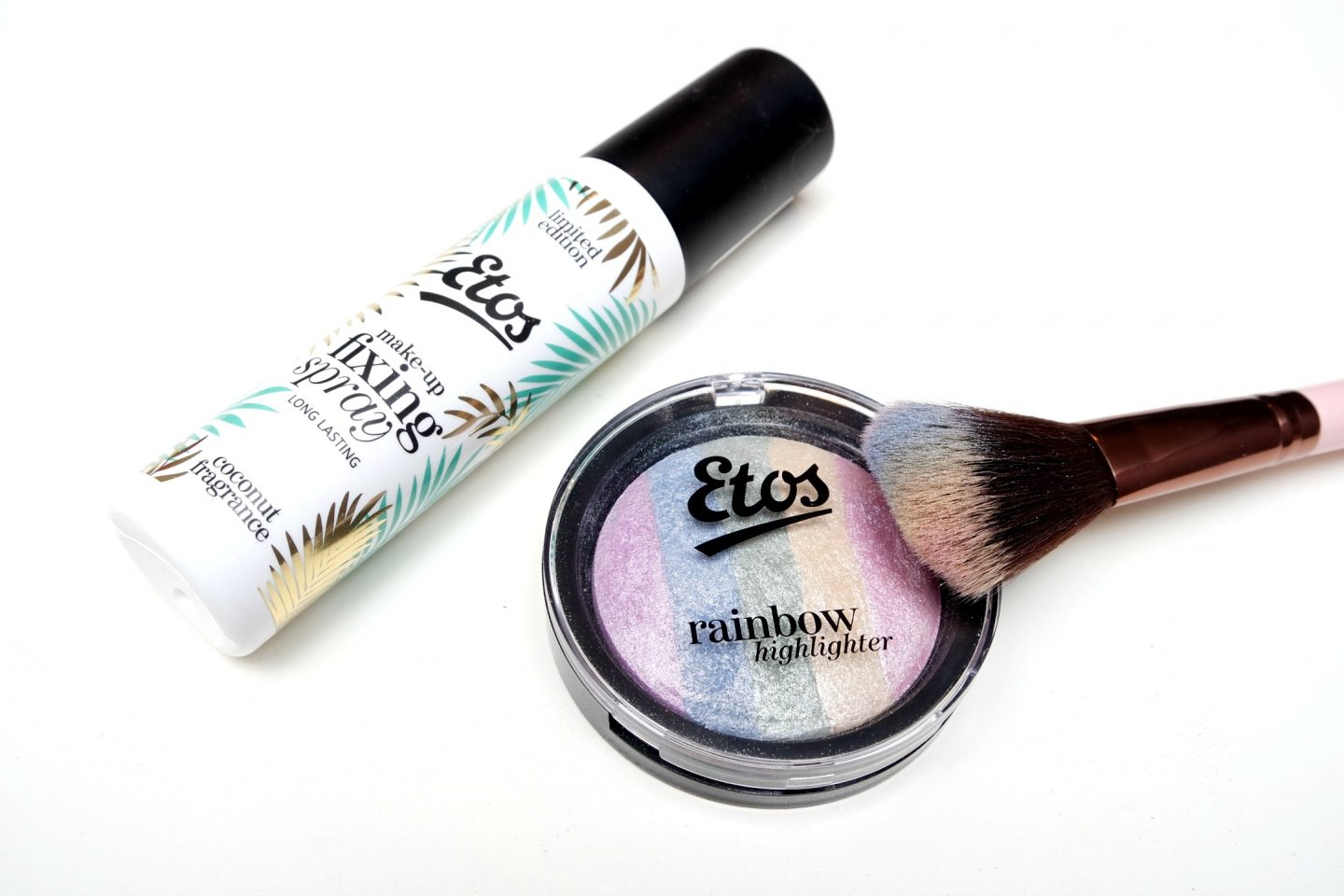 Etos Summer 2017 Make-up – Coconut Make-up Fixing Spray and Rainbow Highlighter